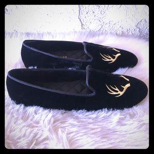 Patricia Green Elegant Antler Loafer Black Velvet